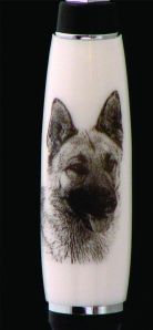 Finished German Shepherd Image on Corian Pen