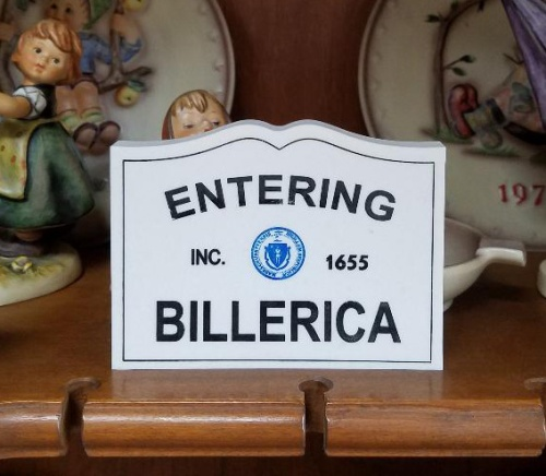 Entering Billerica Engraved Sign